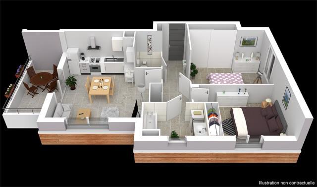 Plan 3d Appartement 101 Le Camélia