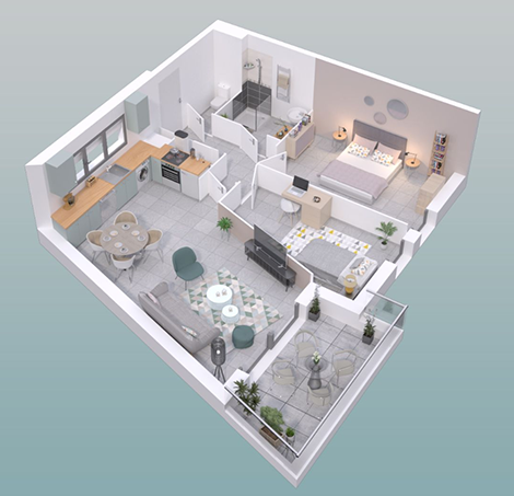 Plan 3D appartement B205 Le Titan - Segeprim promoteur immobilier