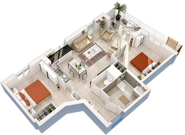 Résidence Le Vaccares - Appartement 101 3D