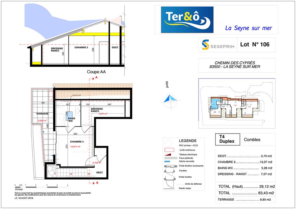 Plan appartement 105 haut - Résidence immobilier Ter&O à La Seyne-sur-Mer