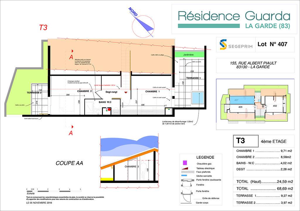 Résidence immobilière Guarda à La Garde 83 - Appartement 407 duplex