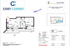 Plan appartement 103 - Résidence immobilière Cosy Corner à Toulon