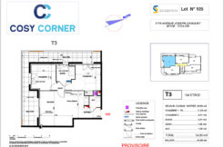 Plan appartement 105 - Résidence immobilière Cosy Corner à Toulon