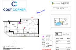 Plan appartement 304 - Résidence immobilière Cosy Corner à Toulon