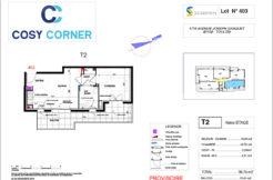 Plan appartement 403 - Résidence immobilière Cosy Corner à Toulon