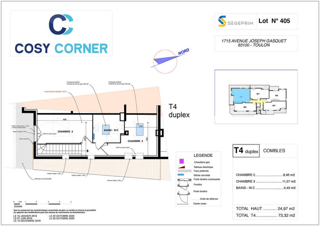 Plan duplex de l'appartement 405 résidence Cosy corner à Toulon