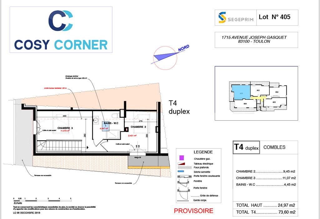 Plan appartement 405 duplex - Résidence immobilière Cosy Corner à Toulon