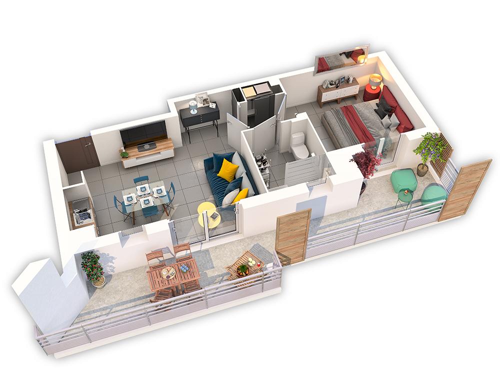 Cosy Corner plan 3D appartement 103